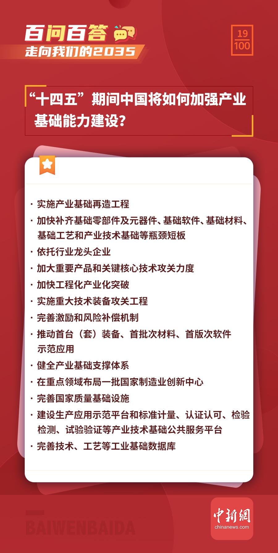 """【走向我们的2035·百问百答】""""十四五""""期间中国将如何加强产业基础能力建设?"""