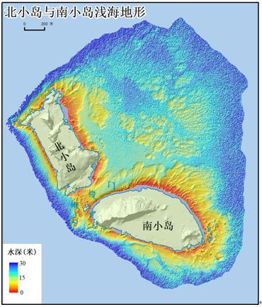 图7 北小岛与南小岛浅海地形图