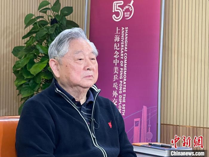 乒坛名宿徐寅生在中国乒乓球博物馆受访。 康玉湛 摄
