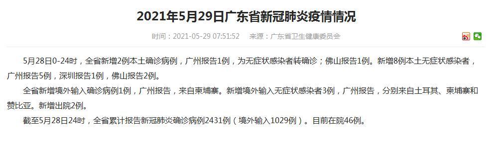 广东新增2例本土确诊病例 8例本土无症状感染者