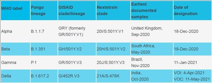 世卫组织公布变异病毒的新命名法。(图片来源:世卫组织官网截图)