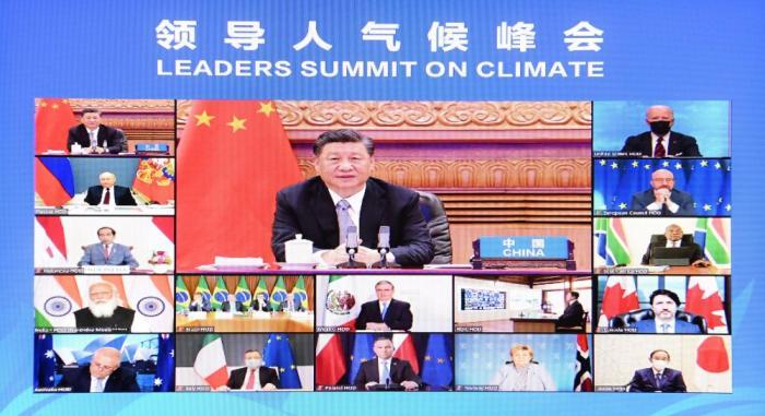 2021年4月22日晚,应美国总统拜登邀请,习近平在北京以视频方式出席领导人气候峰会,并发表题为《共同构建人与自然生命共同体》的重要讲话。