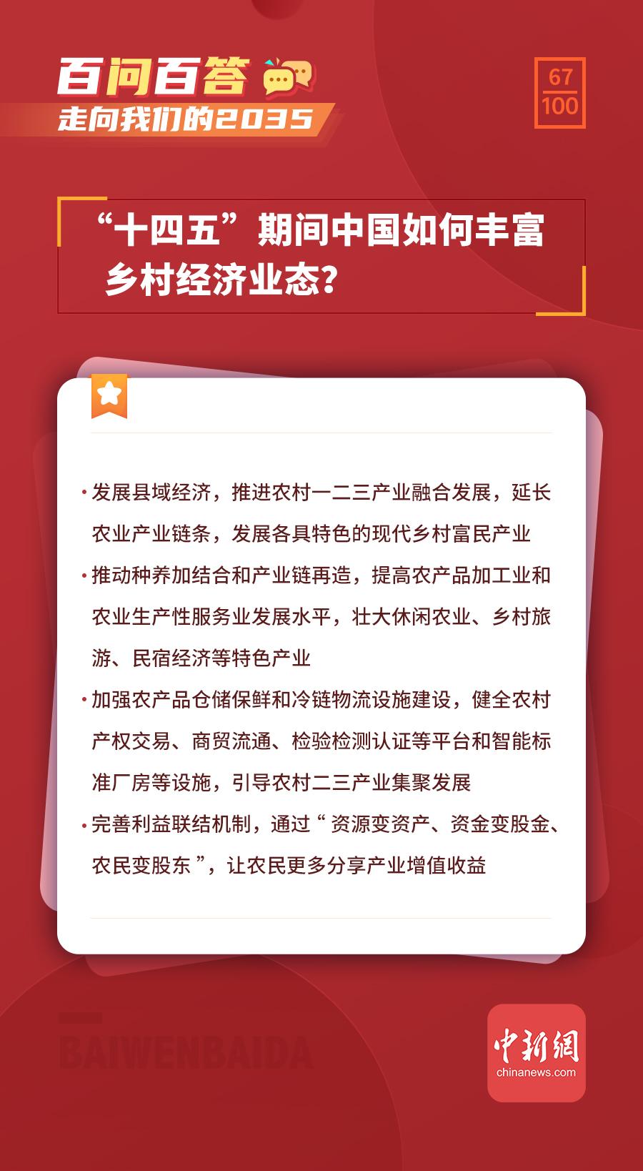 """【走向我们的2035·百问百答】""""十四五""""期间中国如何丰富乡村经济业态?"""