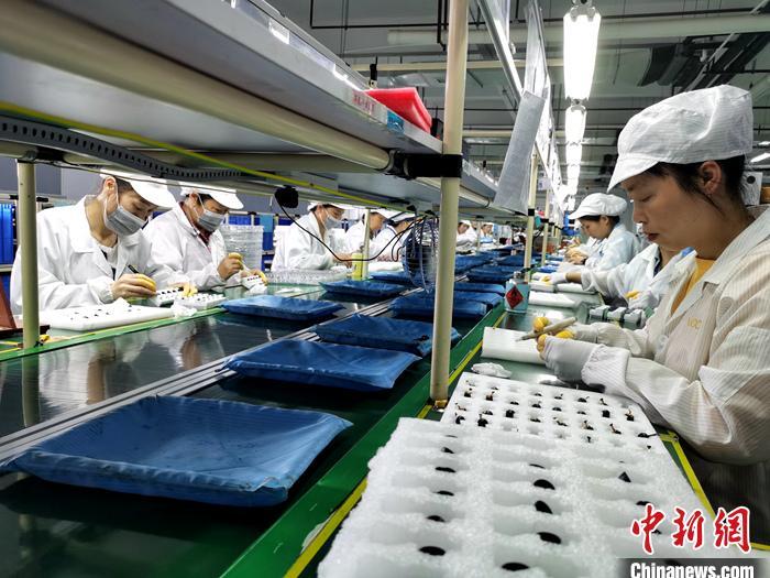 资料图:正在生产耳机的工人。<a target='_blank' href='http://www.chinanews.com/' >中新网</a>记者 李金磊 摄