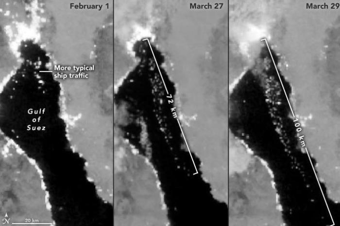 图2:苏伊士运河堵船前后的卫星照片对比。图片来源:美国宇航局(NASA)网站截图。