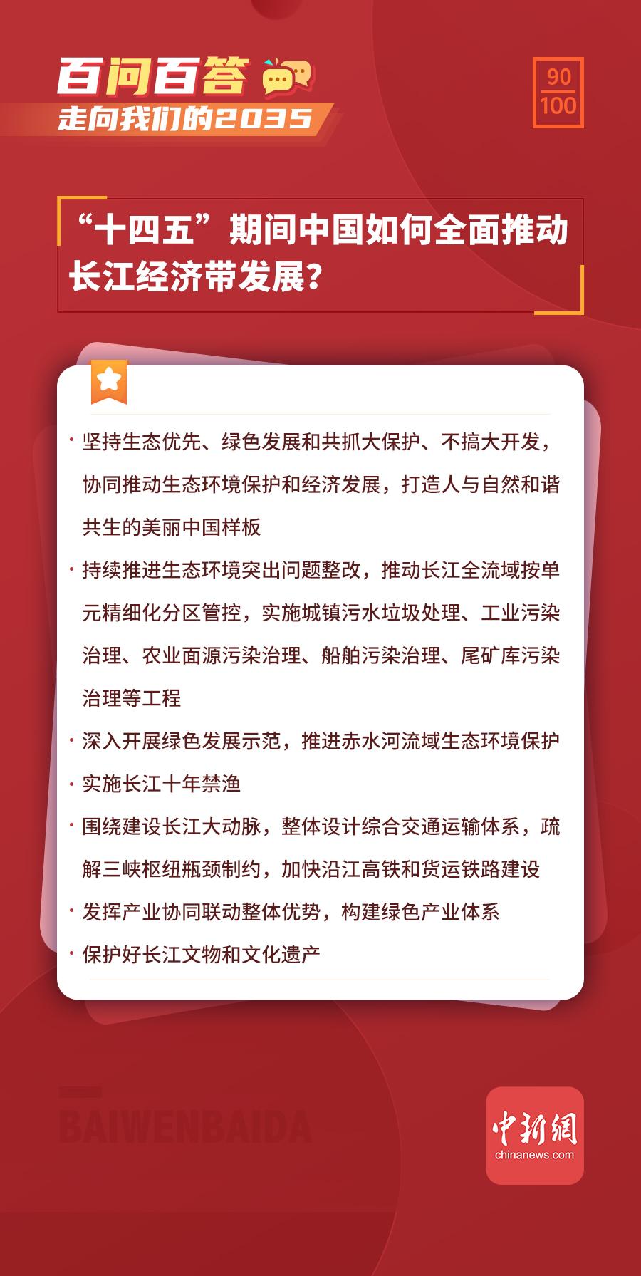 """【走向我们的2035·百问百答】""""十四五""""期间中国如何全面推动长江经济带发展?"""