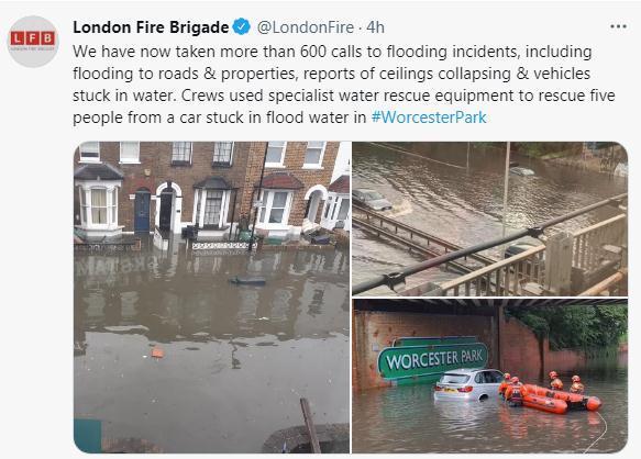 伦敦消防局社交媒体账号截图