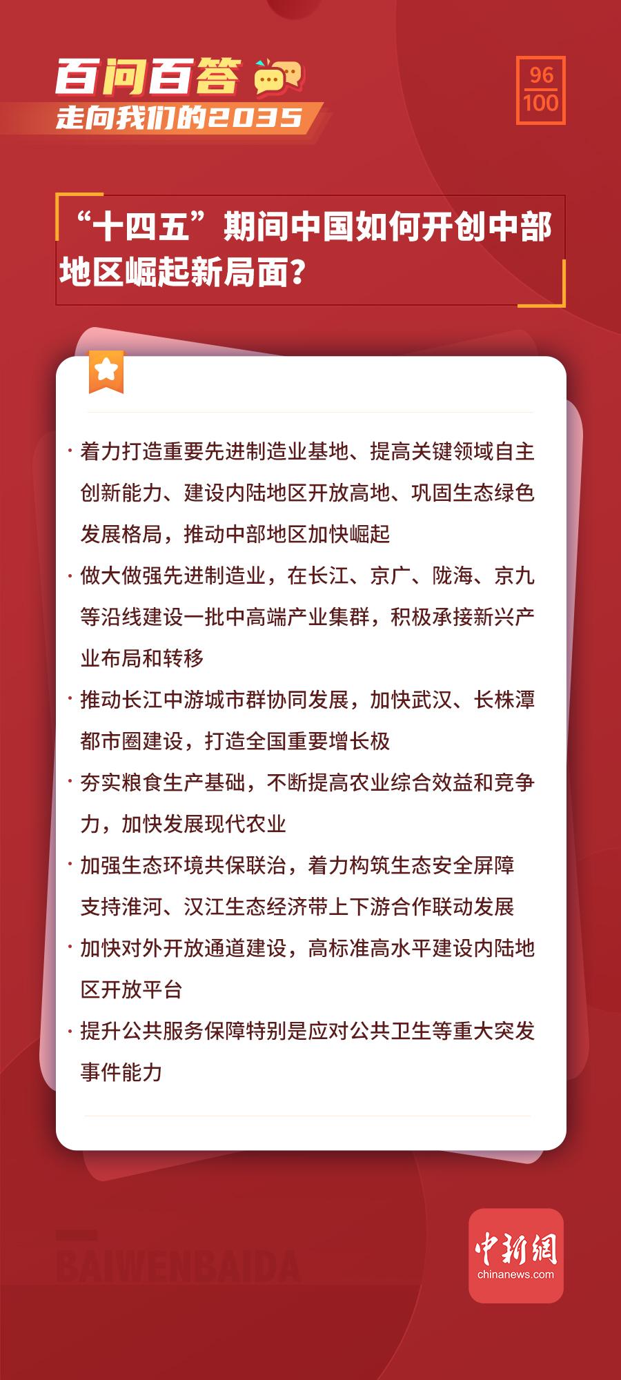 """【走向我们的2035·百问百答】""""十四五""""期间中国如何开创中部地区崛起新局面?"""