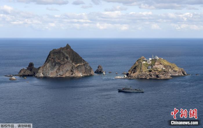 """资料图:日韩争议岛屿(日本称""""竹岛"""",韩国称""""独岛"""")。"""
