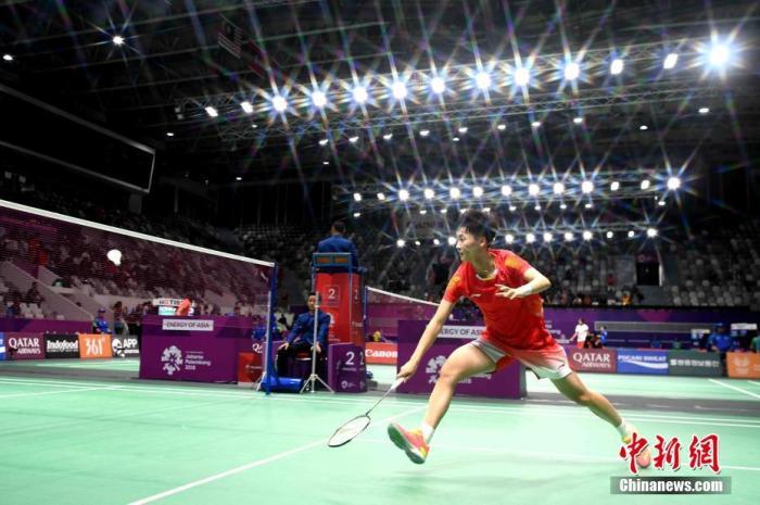 资料图:陈雨菲在雅加达亚运会比赛中。中新社记者 王东明 摄