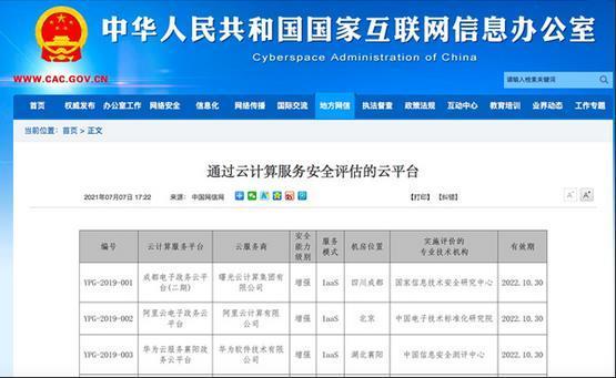 网信办更新云计算服务安全评估名单 阿里云等43个云平台入选
