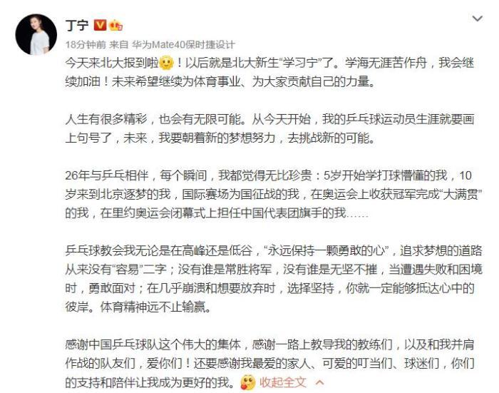 丁宁宣布退役 26年乒球生涯成就一颗勇敢的心