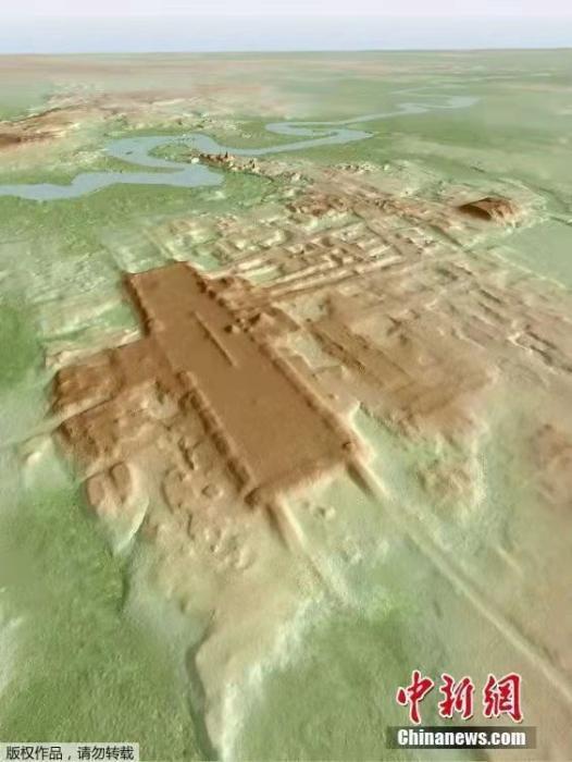 資料圖:2020年6月5日消息,科學家利用空中遙感探測技術,在墨西哥塔巴斯戈州發現一個巨大的矩形高架平臺。據稱,這個建筑物建于公元前1000年至800年之間,或為迄今已知最大、最古老的瑪雅古文明遺址。