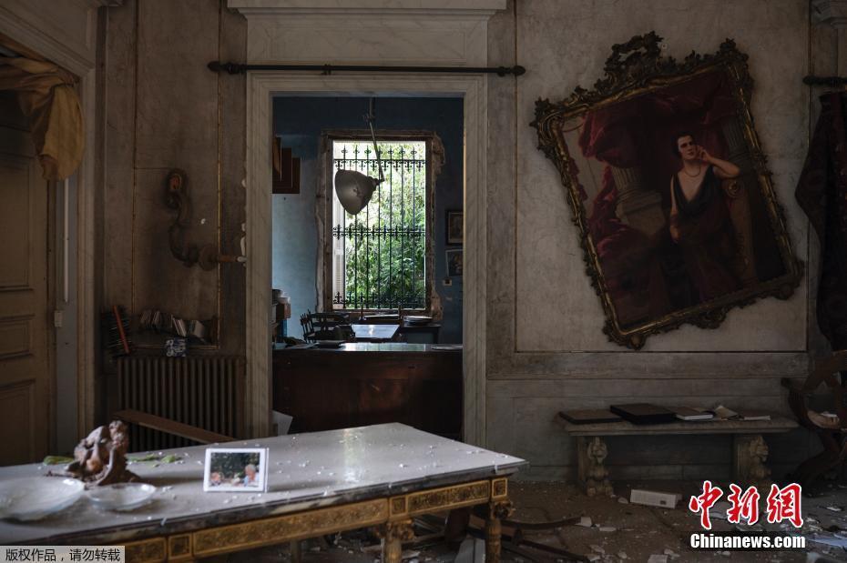 黎巴嫩160年历史宫殿在爆炸中受损 文物化为废墟