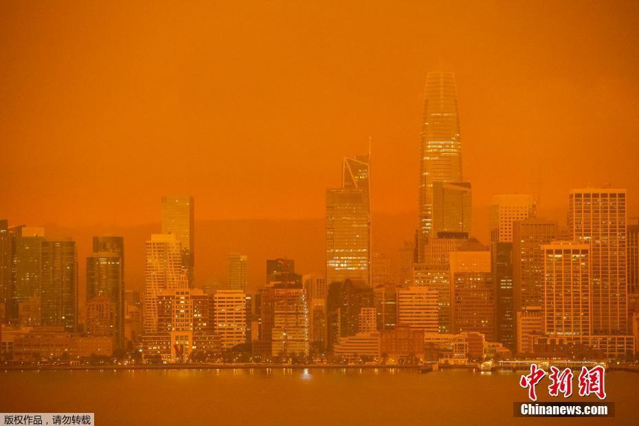 """加州大火持续燃烧 旧金山湾区""""不见天日"""""""