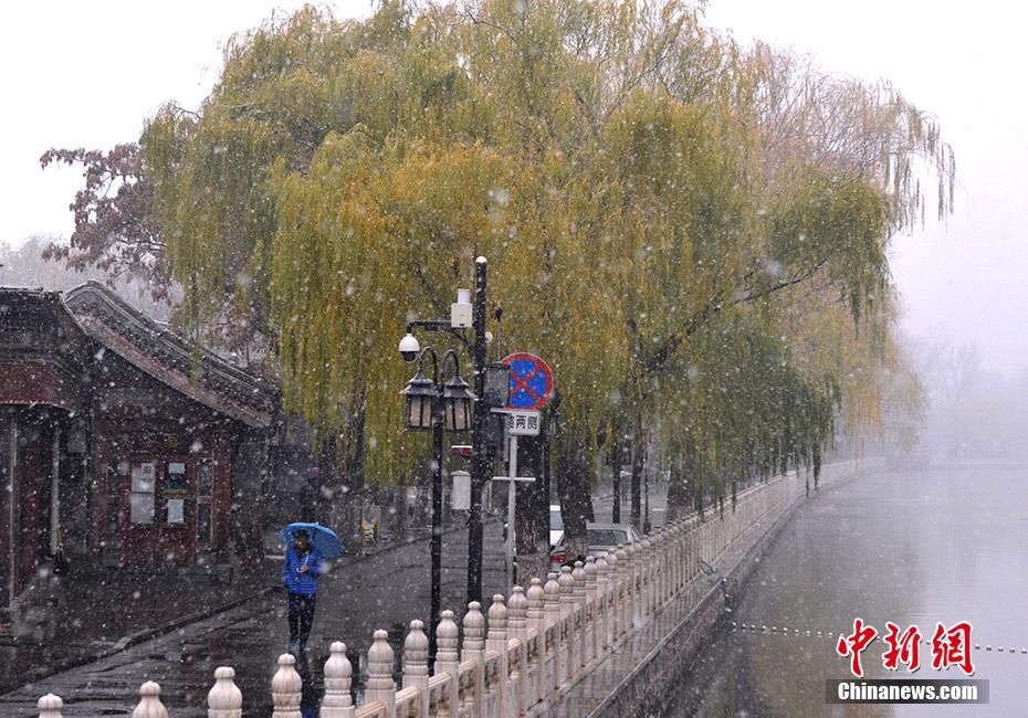 北京城區迎來2020入冬初雪