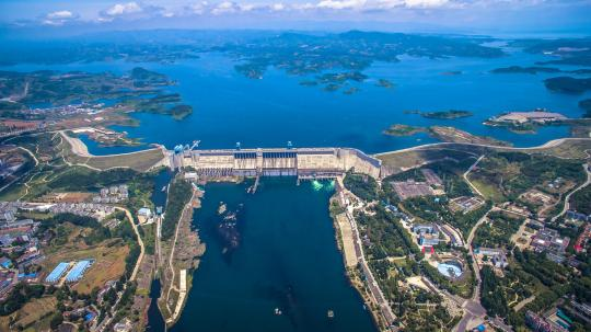 An aerial view of the Danjiangkou Dam in Hubei province. The reservoir is the start of the middle route of the South-North Water Diversion Project. (Photo provided to CHINA DAILY)