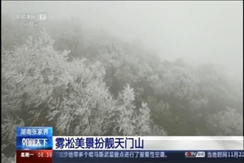 雾凇美景扮靓天门山
