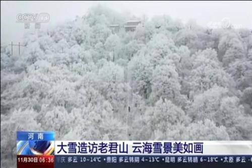 大雪造訪老君山 云海雪景美如畫