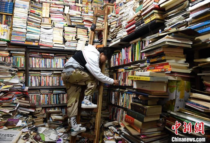 图为游客踩着梯子在旧书店内挑选书籍。 周毅 摄