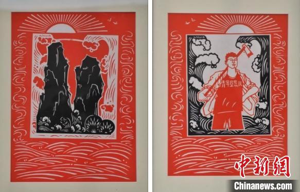图为:剪纸作品《红色大陈岛》 水水 摄