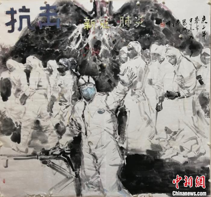 陈中华创作的题为《抗击新冠肺炎》的画作。 陈立天 摄