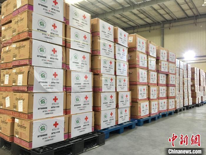 中國僑網圖為澳門紅十字會與歸僑總會購買的近百萬個口罩?!$娦馈z