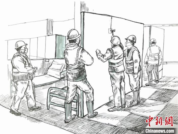 方艙建設鋼筆畫 受訪者供圖 攝