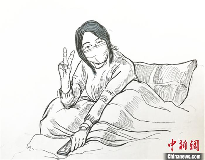 積極樂觀的病患鋼筆畫 受訪者供圖 攝