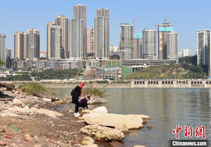 重庆:市民长江边空旷地带享受冬日暖阳
