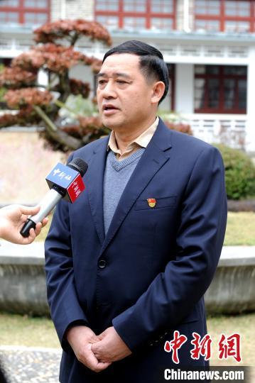古田会议纪念馆馆长曾汉辉接受中新网记者采访。 张金川 摄