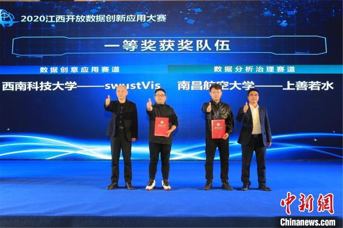 图为获奖队伍代表领奖。江西省发改委供图 江西省发改委供图 摄
