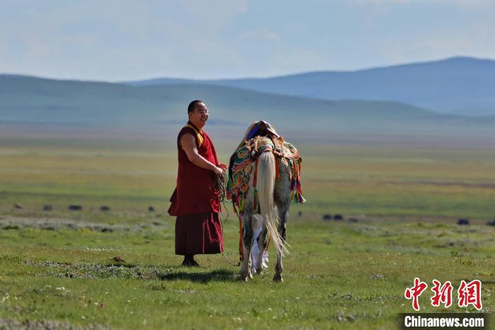 7月22日,班禅在四川甘肃交界的若尔盖草原。中新社记者 李雪峰摄 李雪峰 摄