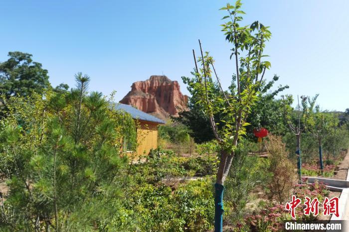图为距离兰沟村不远处的水墨丹霞地貌景观。 杨娜 摄